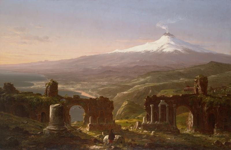 "Thomas Cole was perhaps the most well-known of the Hudson River School Painters. In ""Mount Etna from Taormina,"" he celebrates the natural beauty of a European volcano."