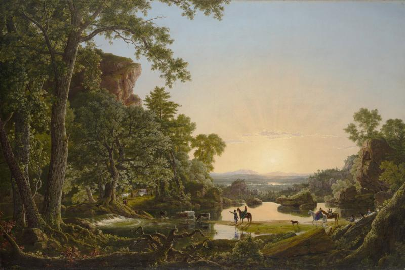 "In a classic representation of the ""Hudson River School,"" Hartford native Frederic Edwin Church depicts the journey of ""Thomas Hooker and Company Journeying through the Wilderness from Plymouth to Hartford, in 1636."""