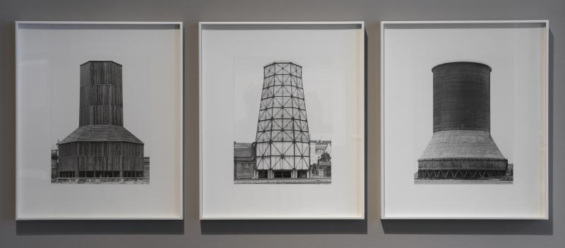Silos projecting an uneartlhy-like quality. Bernd and Hilla Becher, Ruhrgebeit, Aufn, c. 1963–65, (gelatin silver print on board).