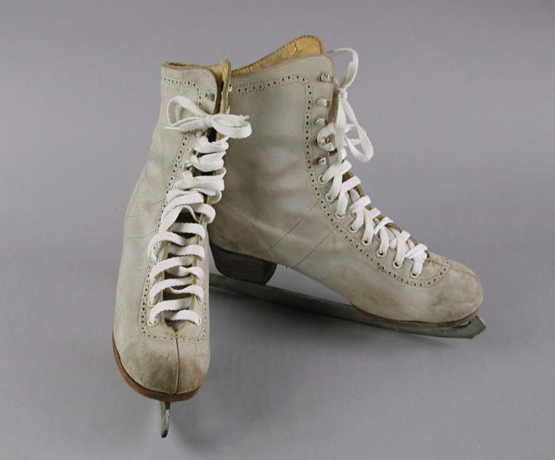 Ice Skates. About 1965. These ice skates, used for figure skating, sport the attached blade and boot.