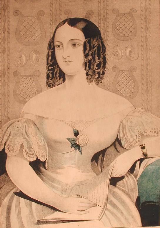 Catherine. Hand-colored lithograph by E.B. & E.C. Kellogg, ca. 1840. Nineteenth-century women wrote a lot of letters. The young woman in this print was a contemporary of Charlotte Cowles.