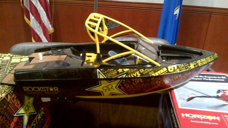 The Rockstar Energy Drink RC boat.