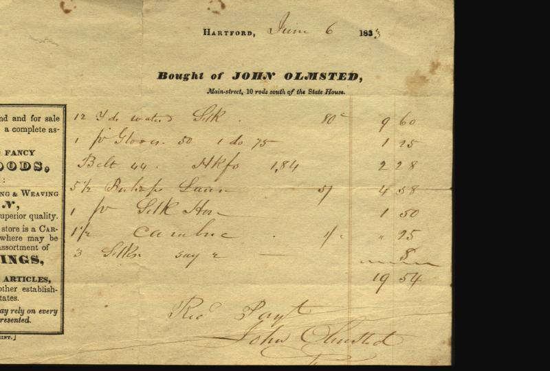 Billhead and bill from John Olmsted. Charlotte mentions Olmsted in her December letter. His store was located only ten rods south of the State House. Note that he carries carpeting in his ware room.