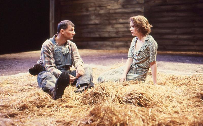 "Ed O'Neill and Kristin Griffith in ""Of Mice and Men"" from Hartford Stage's 1983-1984 season."
