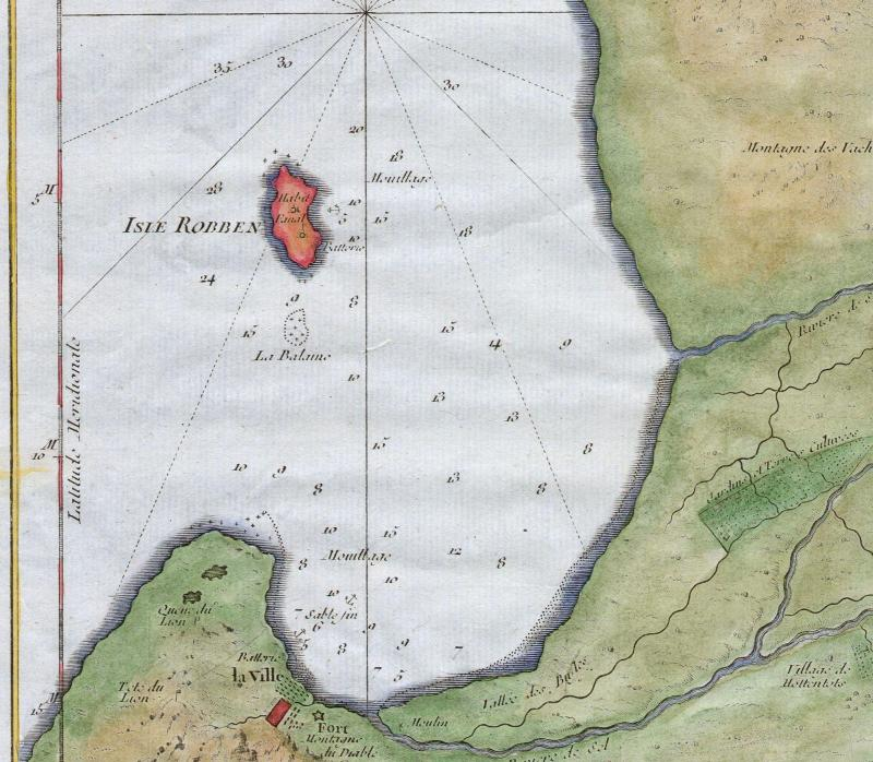 A hand-colored map, circa 1763, of the Cape of Good Hope and Cape Town, South Africa, showing Robben Island in red. Attributed to French cartographer Jacques-Nicholas Bellin.