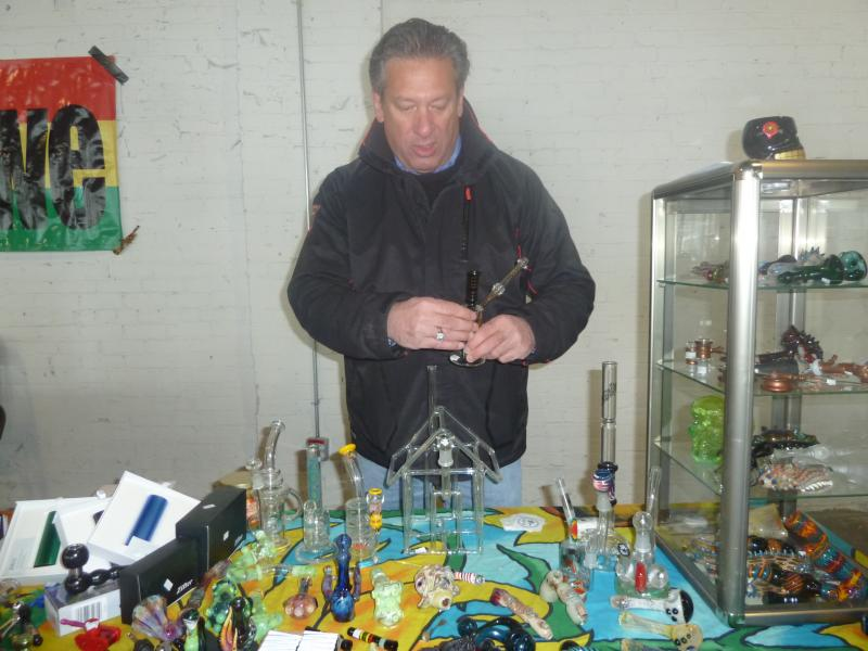 Jeff Feldman of Shock 'n' Awe in Waterbury showcases designer pipes.