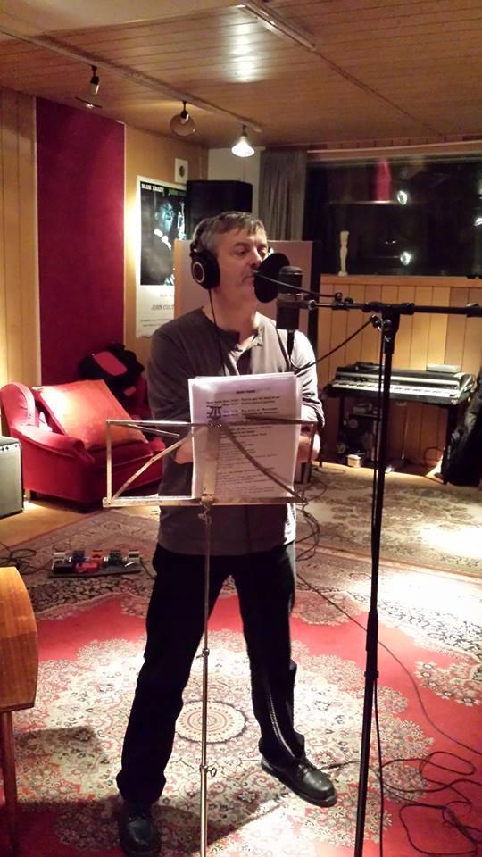 Stupidity lead singer Erniz laying down vocal tracks at Stockholm's Gig Studios