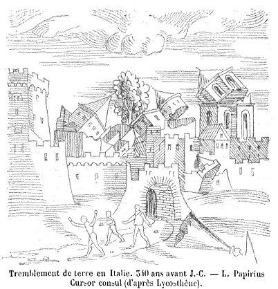 Image depicting an earthquake from a 1557 book.