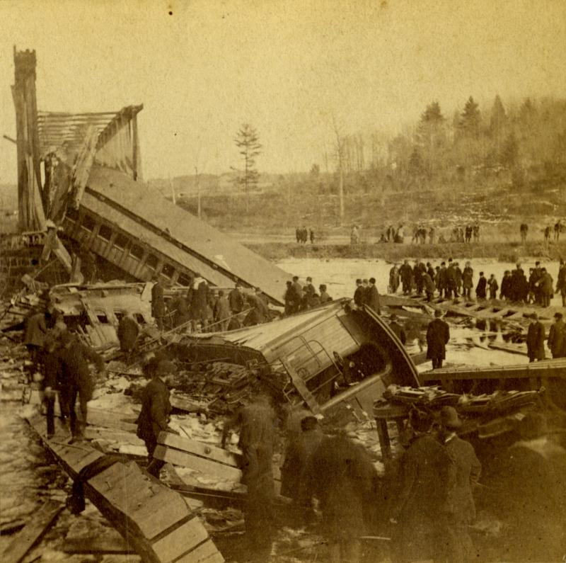 A view from the Simsbury side of the river shows crumpled coaches. Detail of a stereograph by Daniel S. Camp of Hartford.