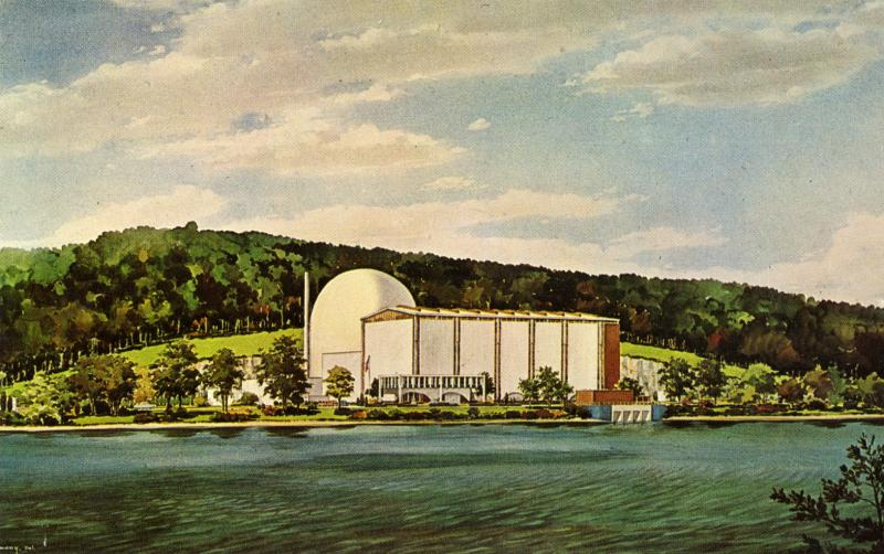 Artist's rendering of the Connecticut Yankee Power Company Plant, Haddam Neck. Postcard published by the Connecticut Yankee Atomic Power Company, ca. 1968.