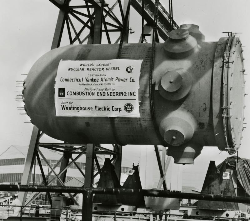 World's Largest Nuclear Reactor Vessel. Photograph, 1966.  Connecticut Yankee's nuclear reactor vessel is shown being loaded onto a barge in Chattanooga, Tennessee to be transported to Haddam Neck.