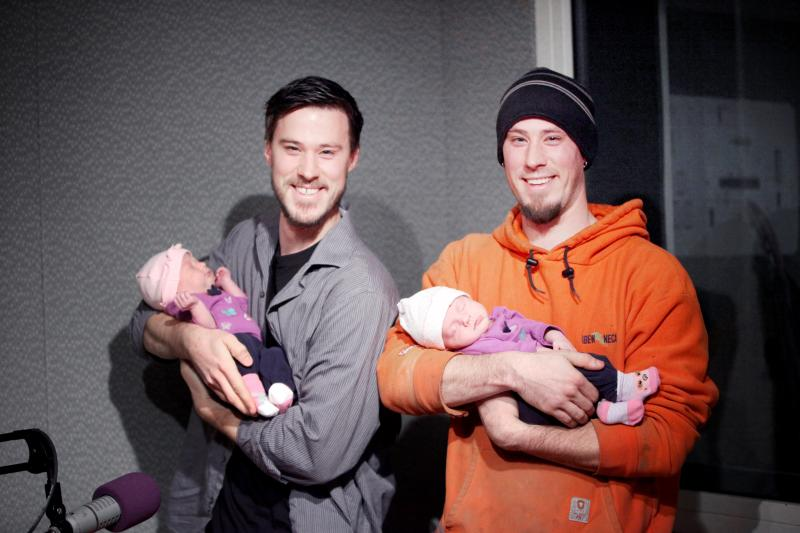 Roger and Danny Castonguay are identical twins who grew up in Enfield. They're holding Roger's identical twin babies, Lucy and Layla.