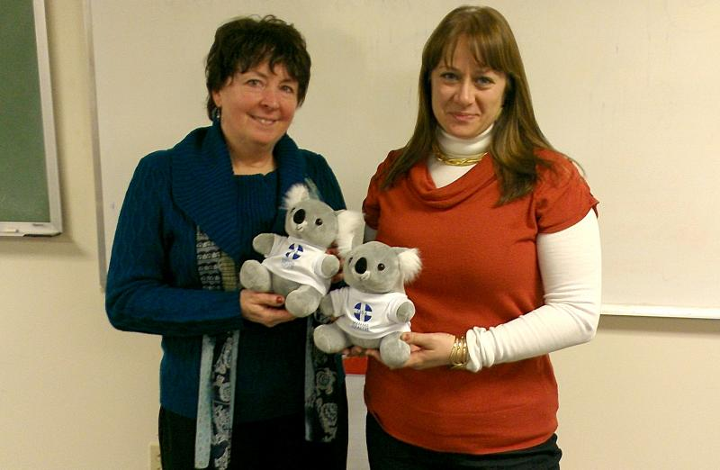 Janine Sullivan-Wiley, left, and Jennifer DeWitt, were the co-instructors for a class on Mental Health First Aid at the Western Connecticut Area Agency on Aging. They're holding ALGEE the koala bear, which is the mascot for mental health first aid.