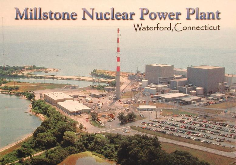 Millstone Nuclear Power Plant, Waterford, Connecticut. Postcard, 1990s.  The massive power plant remains in operation today, generating 50% of the state's electricity.