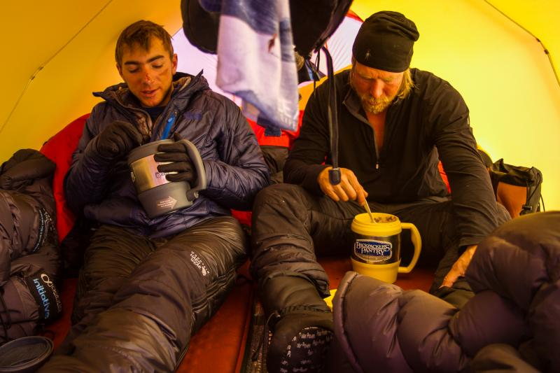 Liautaud and Stoup share a meal in their tent.