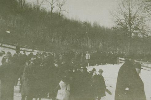 Crowd on Hosmer Mountain during the Eclipse, January 24, 1925. Photograph, 1925. Five thousand people gathered on Hosmer Mountain in Willimantic to see the eclipse.