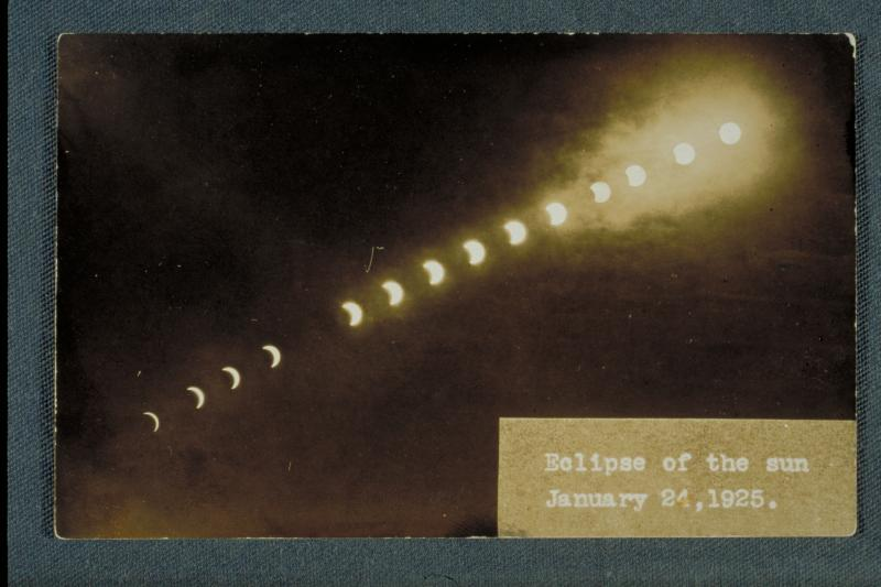 "Time-lapse photograph of the Eclipse of January 24, 1925. Postcard, 1925. This postcard was issued to commemorate the ""astronomical event of the century."""