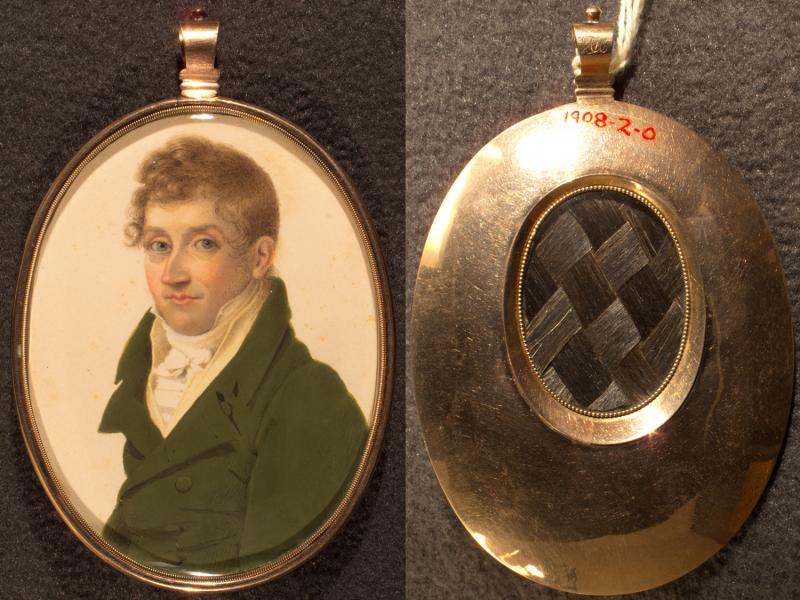 David Huntington. Miniature on ivory by an unknown artist, ca. 1810. David was born in Marlborough, Connecticut. This miniature, with a woven lock of hair in the back, was probably painted at the time of his marriage to Ann Carly, in 1808.