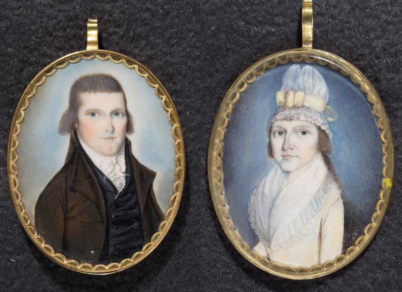 William Eldridge and Eliza Avery Eldridge.  Miniatures on ivory, attributed to William Verstille, 1794. William and Eliza were from Groton, Connecticut. These miniatures were probably painted at the time of their wedding in 1794.