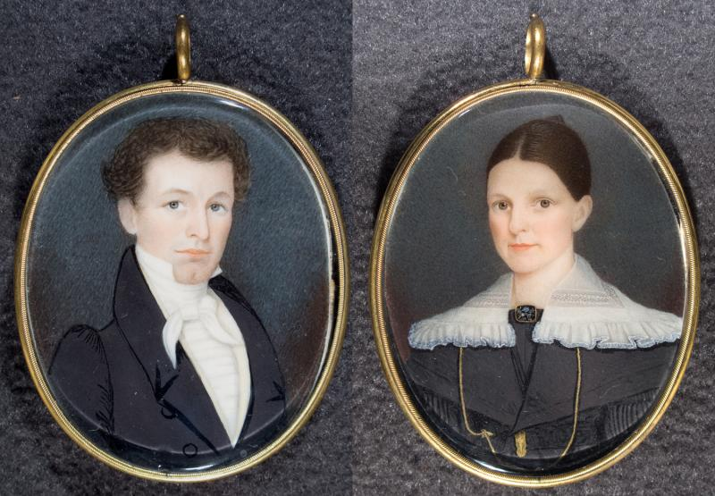 Loren Pinckney Waldo and Frances Eldridge Waldo.  Miniatures on ivory by Charles William Eldridge, 1825.  The bride's brother painted these portraits at the time of the couple's marriage; Loren was then a young lawyer practicing in Somers, Connecticut.