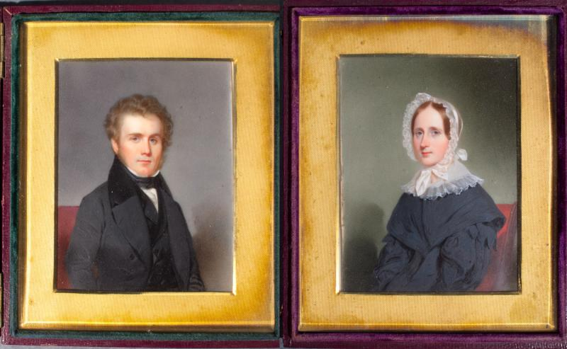 Samuel Watkinson Collins and Sarah Howard Coit Collins. Miniatures on ivory by an unknown artist, late 1830s or early 1840s? The compositions of this pair of portraits suggest the influence of photography.