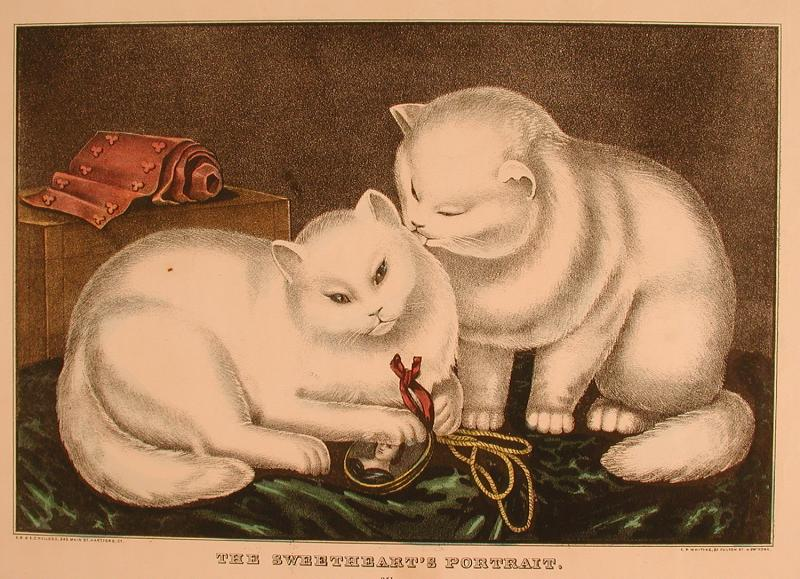 The Sweetheart's Portrait.  Hand-colored lithograph by E.B. & E.C. Kellogg, 1860s. The miniature portrait the cats are playing with probably dates from the 1830s.