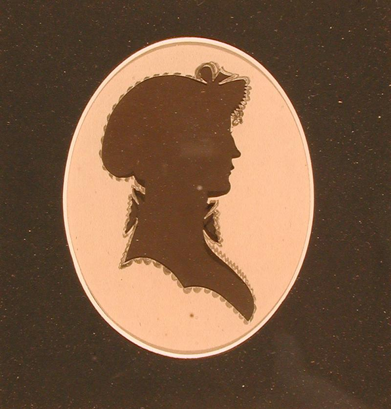 Sarah Spencer Morgan.  Silhouette cut by Peter Choice, ca. 1817.  Sarah Spencer of Middletown, Connecticut married Joseph Morgan in 1897.
