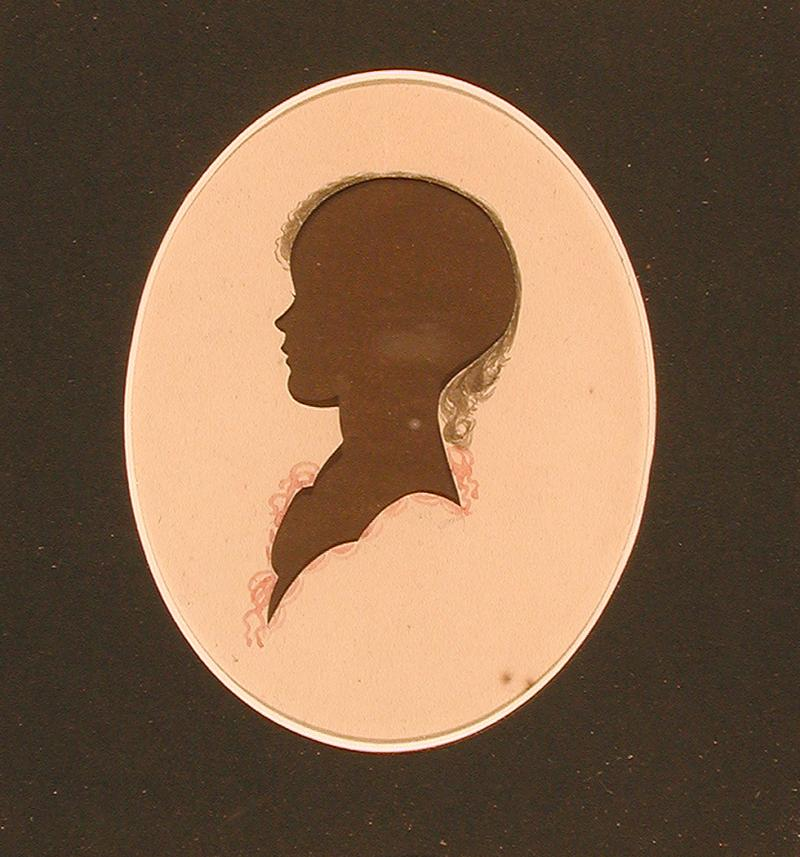 Lucy Morgan Goodwin.  Silhouette cut by Peter Choice, ca. 1817.  Lucy Morgan, born in 1811, married James Goodwin in 1832. Francis Goodwin was her son.