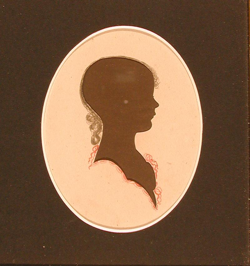 Mary Morgan Smith.  Silhouette cut by Peter Choice, ca. 1817.  Mary Morgan, born 1808, married the Rev. James A. Smith, pastor of the Glastonbury Congregational Church, in 1832.