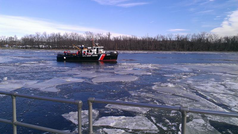 USCGC Bollard drives down the Connecticut River in Middletown. The 65-foot ship's main mission during the winter is breaking up ice.