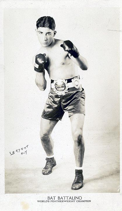 "Christopher ""Bat"" Battalino, born 1908. He won the world professional championship as a featherweight from Frenchman Andre Routis in September 1929 at the Velodrome in East Hartford."