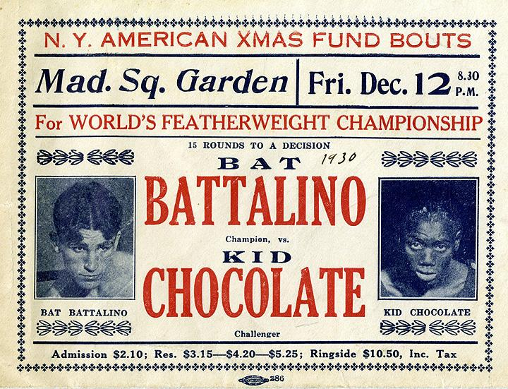 Advertisement for 1930 World's Heavyweight Championship. Battalino vs Kid Chocolate. December 12, 1930.