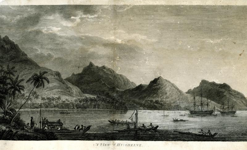 A View of Huaheine. Engraving after a drawing by John Webber, published 1783.  Huahine, one of the Society Islands in the South Pacific, was visited by Captain Cook in 1777.