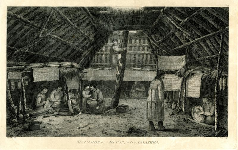 The Inside of a House in Oonalashka. Engraving after a drawing by John Webber, 1783. When Captain Cook called for a volunteer to explore Unalaska Island alone, John Ledyard volunteered and was welcomed by Alaskan natives as well as Russian traders.