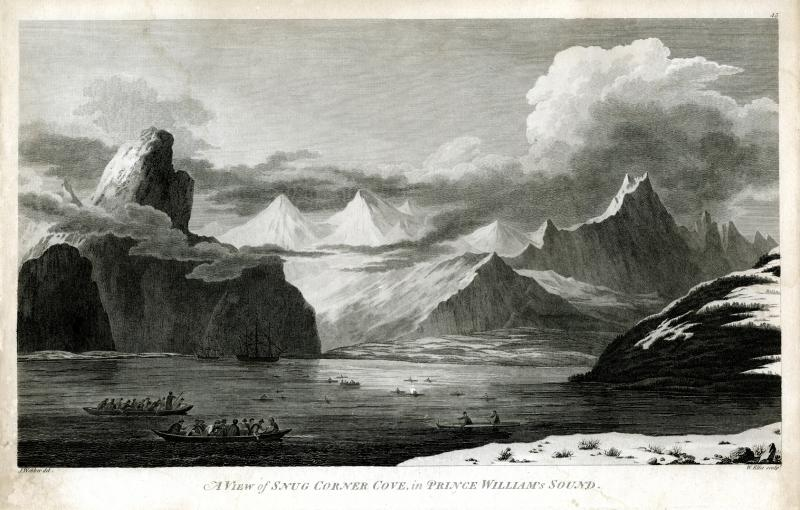 A View of Snug Corner Cove, in Prince William's Sound. Engraving after a drawing by John Webber, published 1783. Captain Cook and his crew explored Prince William Sound off the coast of Alaska in 1778.