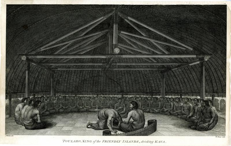 "Poulaho, King of the Friendly Islands, drinking Kava. Engraving after a drawing by John Webber, London, published 1783. Ledyard described Poulaho as ""fat and corpulent, yet active and full of life…good natured and humane, very sensible and prudent."""