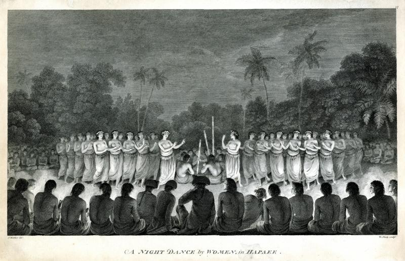 A Night Dance by Women in Hapaee. Engraving after a drawing by John Webber, published 1783.  John Ledyard may be one of the three men seated in the center foreground, wearing a British officer's hat.