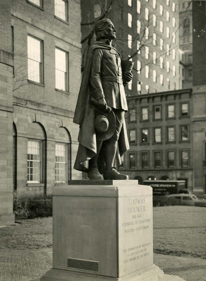 Thomas Hooker. Photograph, ca. 1950. The statue of Thomas Hooker stands on Old State House Square in downtown Hartford.