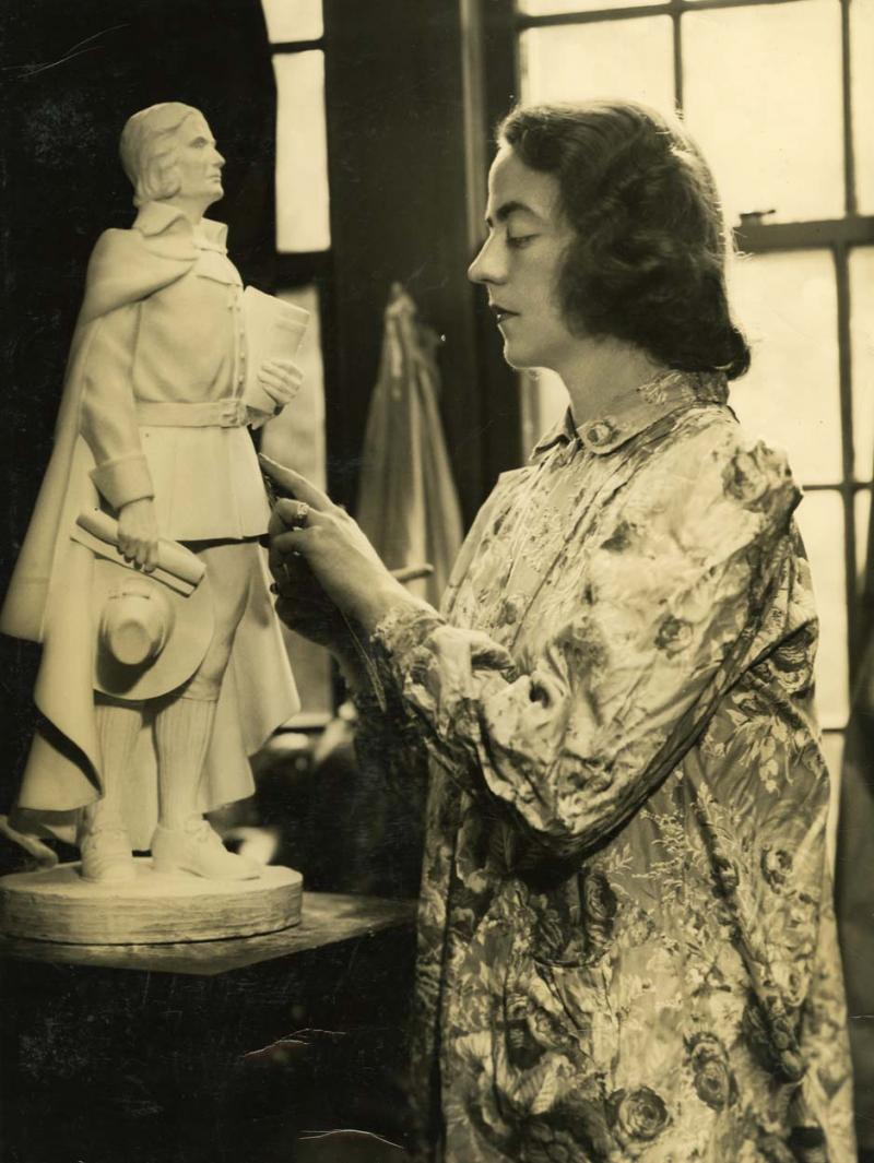 Interior of Frances Wadsworth's studio. Photograph, 1940s. Frances made meticulously detailed models of her sculptures before creating the final sculpture.