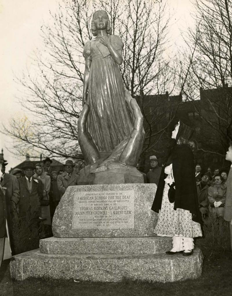 Dedication of the Gallaudet statue. Photograph,  April 18, 1953. The statue features Alice Cogswell, Gallaudet's first pupil .