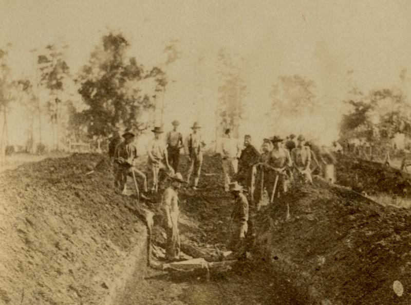 Andersonville: Mass Grave. Photograph by sn unidentified Confederate photographer, 1864. Union dead were interred in mass graves like this one.