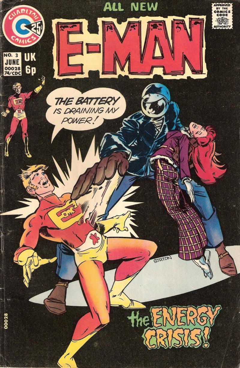 Though Charlton mostly left the superheroes to Marvel and DC, they had many popular ones, including the whimsical E-Man by Joe Staton. Mr. Staton will be bringing back the fan favorite hero to the pages of The Charlton Arrow soon.