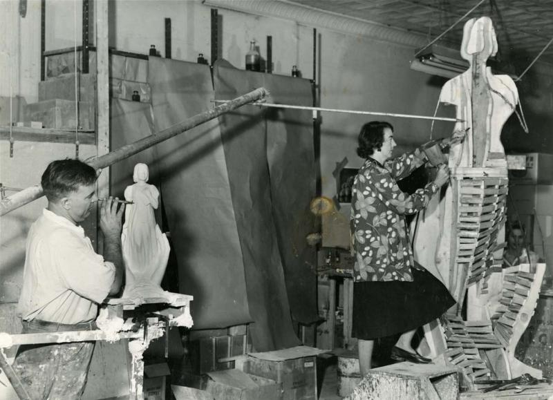 Frances Wadsworth in her Studio.  Photograph, 1950s.  Frances Wadsworth is shown working on her statue commemorating Thomas Gallaudet.