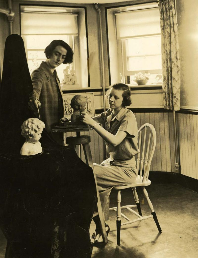Frances Wadsworth teaching. Photograph, no date. By teaching art classes at the Institute of Living, Frances was able to influence young people.