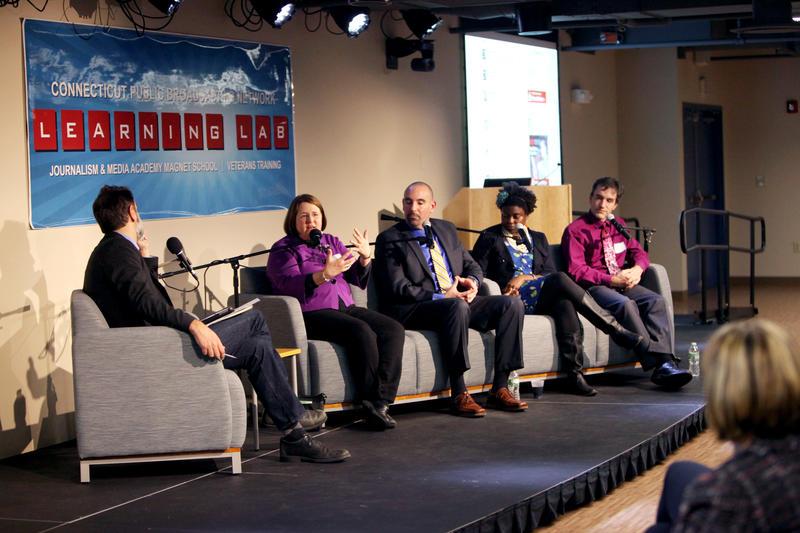 WNPR's John Dankosky moderates a discussion with teachers Liz Natale, David Bosso, Ebony Murphy-Root, and David Low.