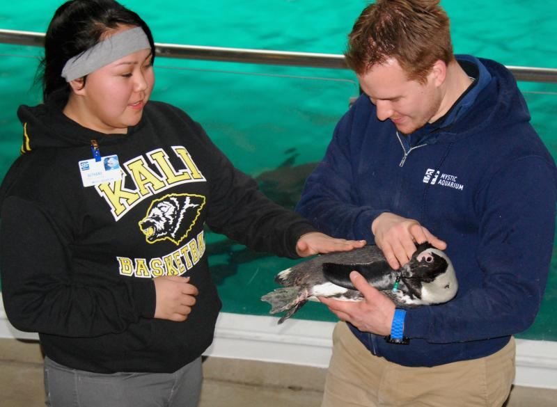 The students met a penguin, too.