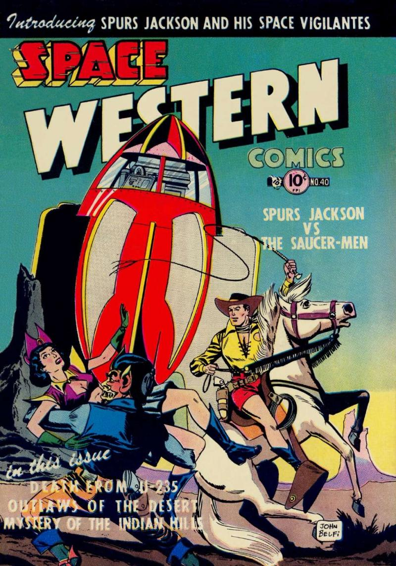 Charlton was an innovator of cross-genres, like Space Western! Written by the creator of The Shadow, Walter B. Gibson, and drawn by John Belfi.