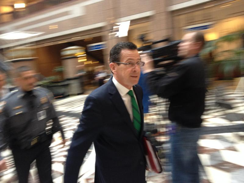 Gov. Malloy, just before his announcement.