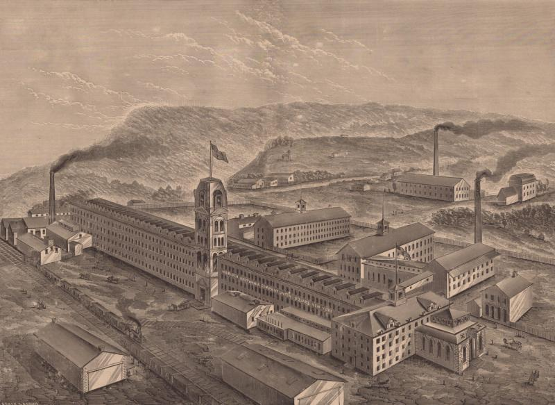 Manufactory of Meriden Britannia Company, West Meriden, Conn.  Wood engraving by Asher & Adams, ca. 1876. This birds-eye view shows the factory as rebuilt.
