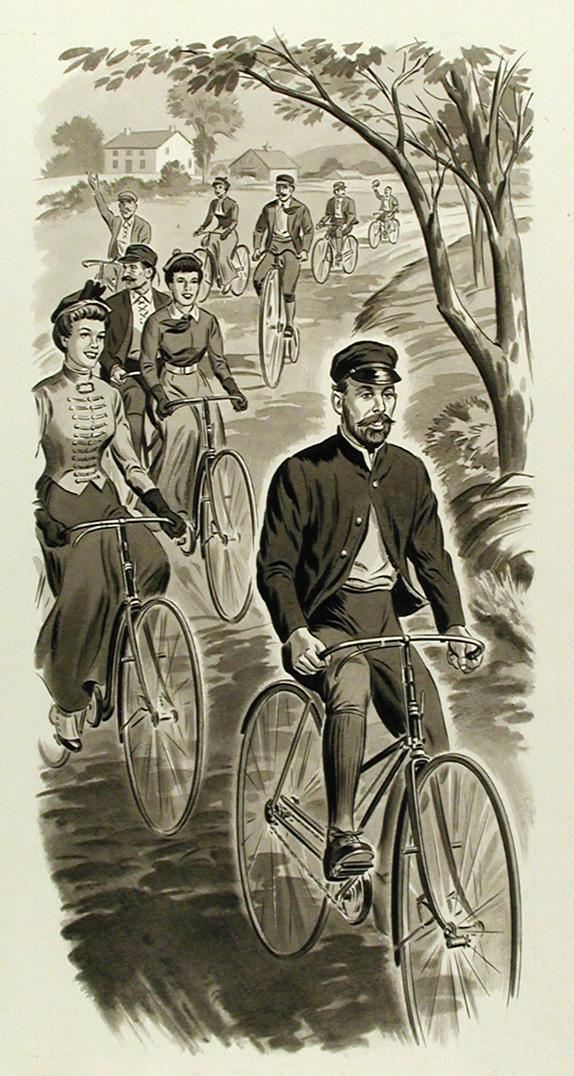 """Curtis Veeder, Inventor of the Cyclometer, Riding a Bicycle,"" Drawn by HH Art Studios Inc. for G. Fox & Co. 100th Anniversary, 1947. (Connecticut Historical Society, 1980.93.23)"